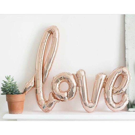 ballon love script roze poppie loppie. Black Bedroom Furniture Sets. Home Design Ideas